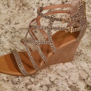 Seychelles Black and Tan Strappy Wedge